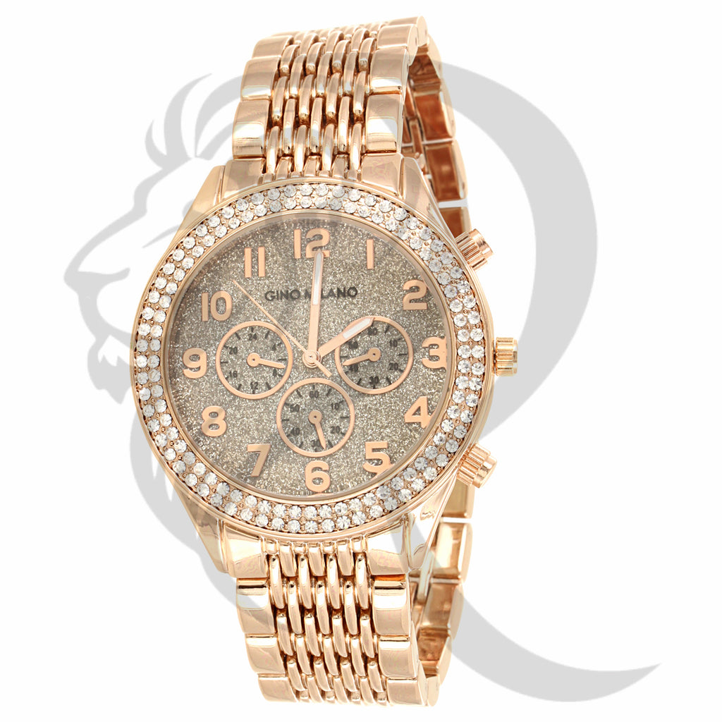 41MM Round Glitter Dial IcedOut Bezel Plain Rose Tone Watch