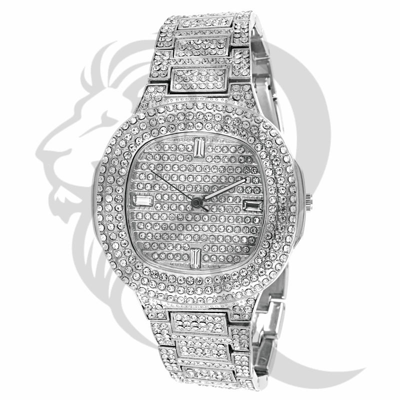 43MM White Tone IcedOut Techno Pave Watch