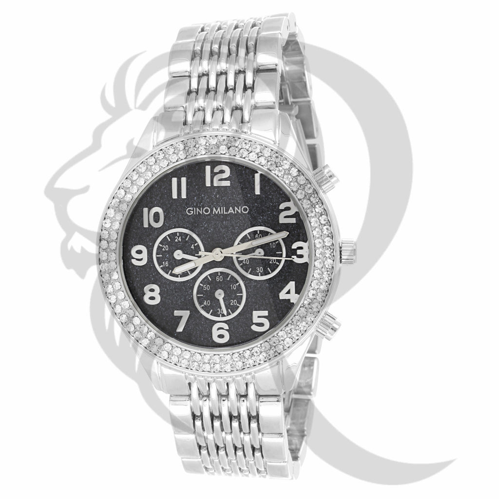 41MM Black Glitter Dial Plain White Tone Gino Milano Watch