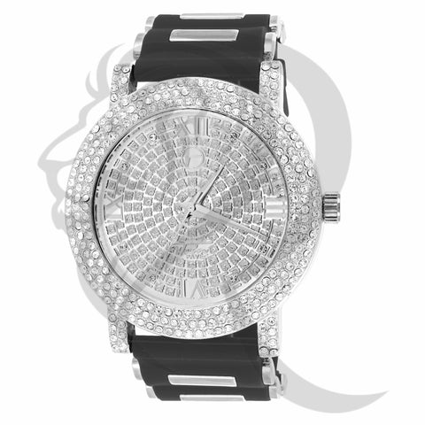 White Tone Face Black Band 48MM Men's Watch