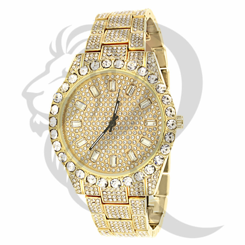 44MM Round Solitaire Face IcedOut Men's Watch