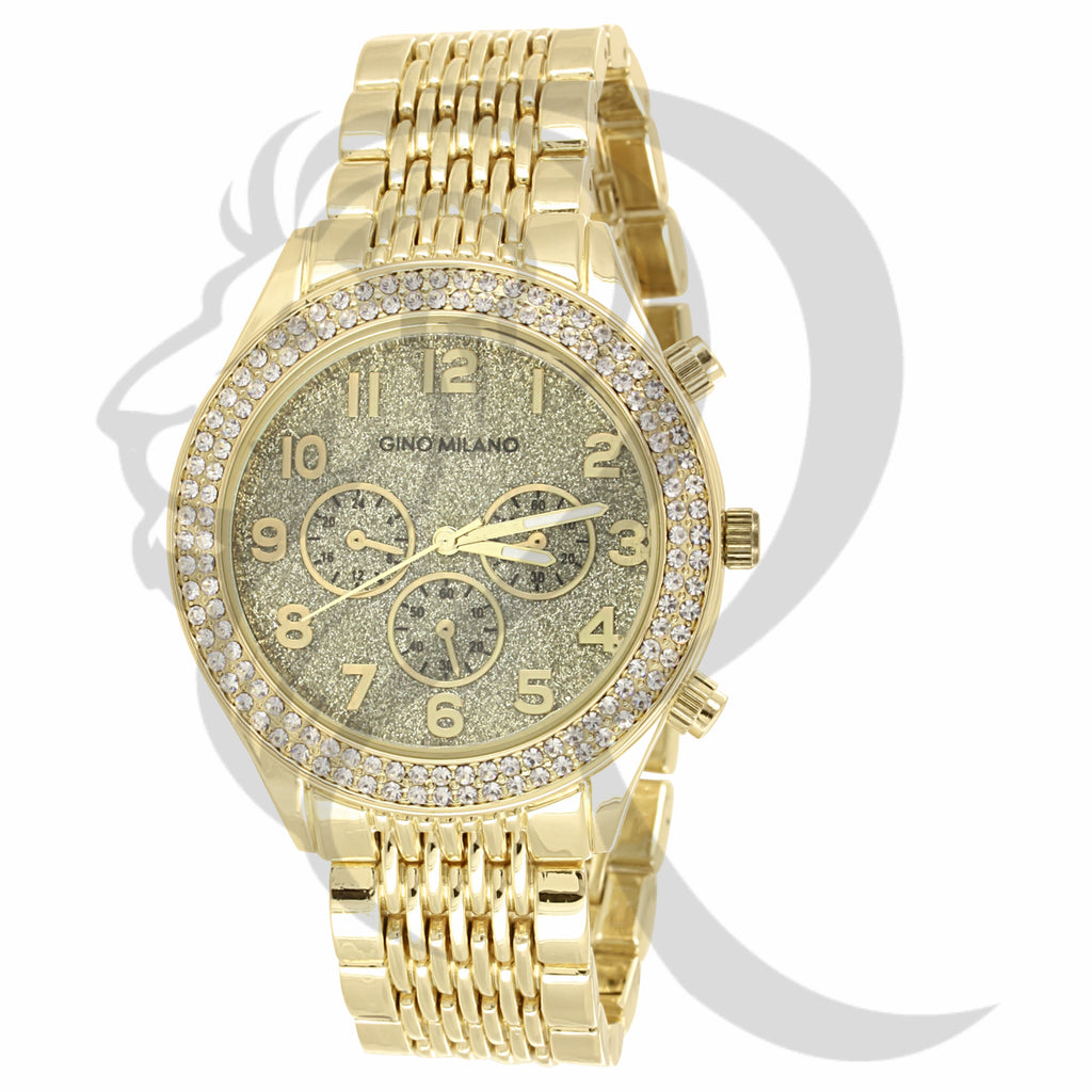 41MM IcedOut Bezel Glitter Dial Plain Yellow Gold Tone Watch