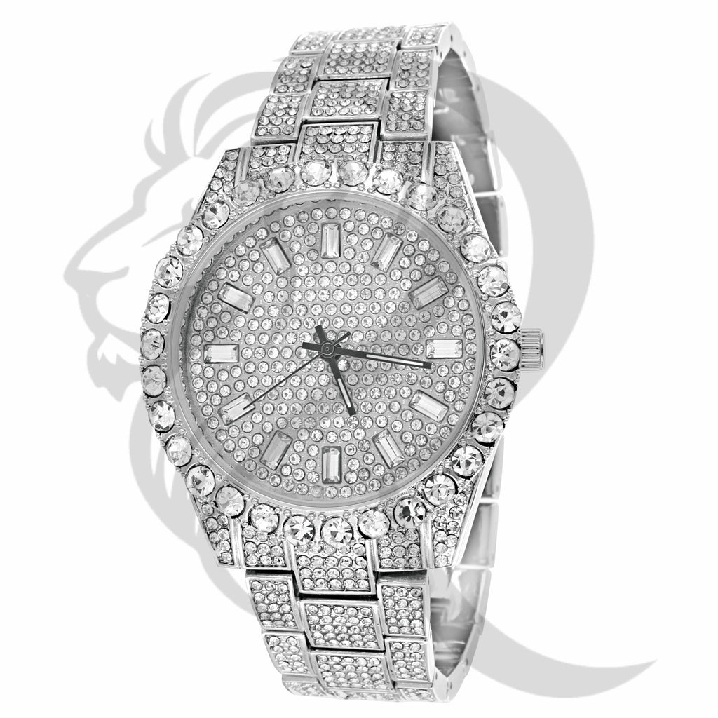 White Tone Solitaire Baguette Dial IcedOut Watch