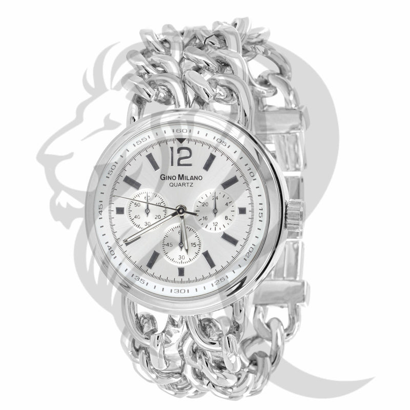 White Gold Finish 38MM Cuban Links Watch