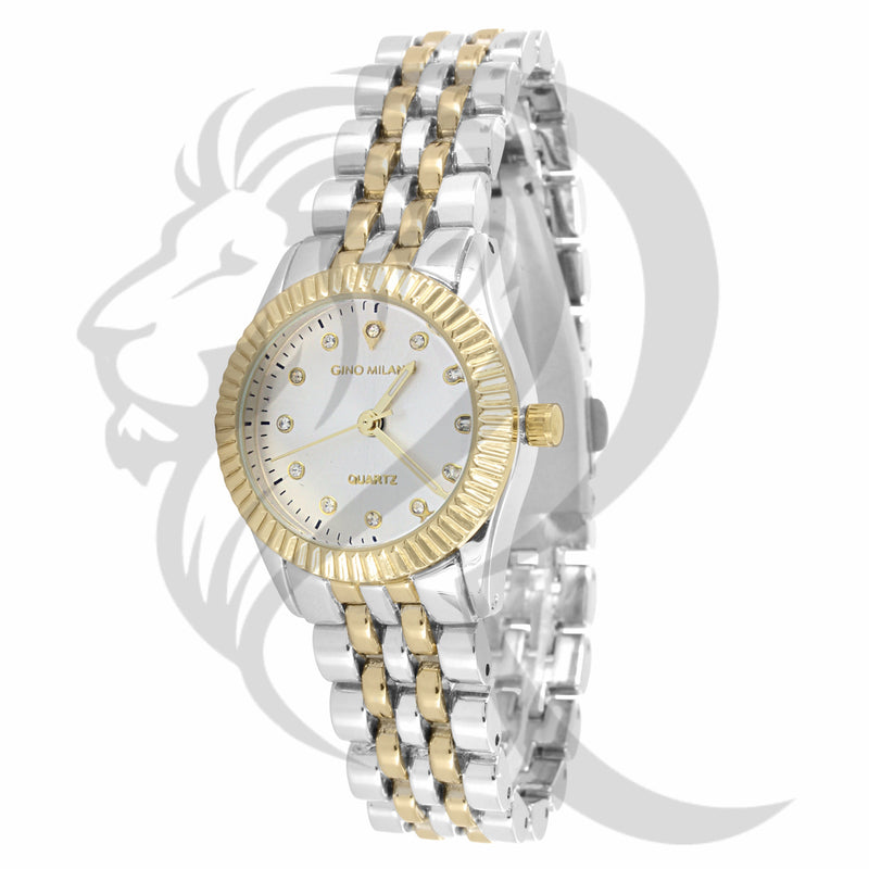 26MM Two-Tone Yellow & White Plain Metal Ladies Watch