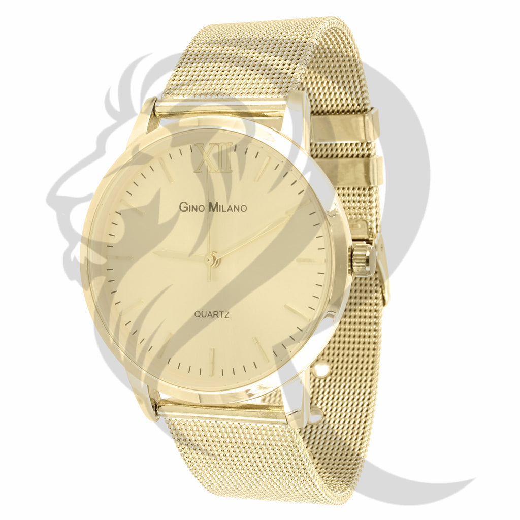 40MM Face Plain Yellow Gold Tone Mesh Band Women's Watch