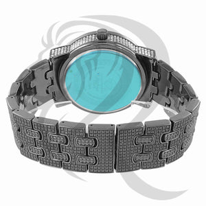 48MM IcedOut Face Black Tone Watch