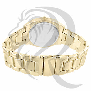 38MM Yellow Tone Iced Out Watch