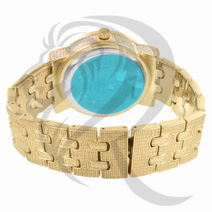 Yellow Gold Tone 48MM IcedOut Face Watch