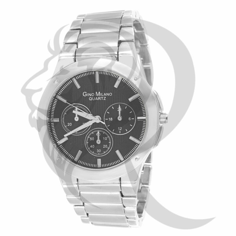 Black Dial 43MM Plain Men's Metal Watch