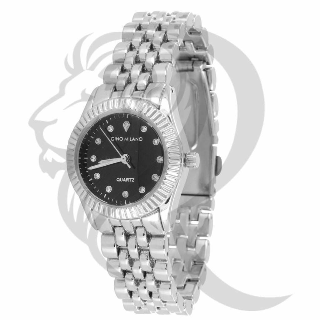 Black Dial 26MM Fluted Bezel Plain White Tone Ladies Watch