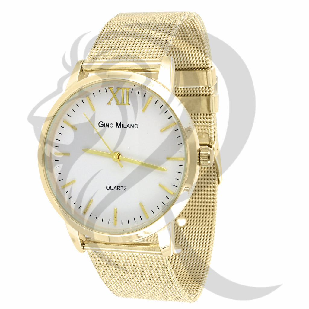 40MM White Dial Yellow Mesh Band Gino Milano Watch