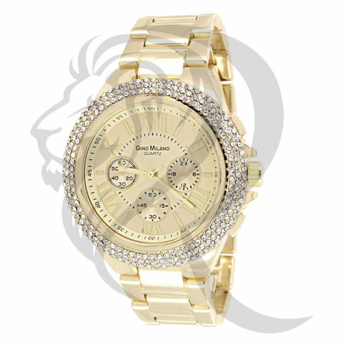 43MM 3 Row Iced Out Dial Watch