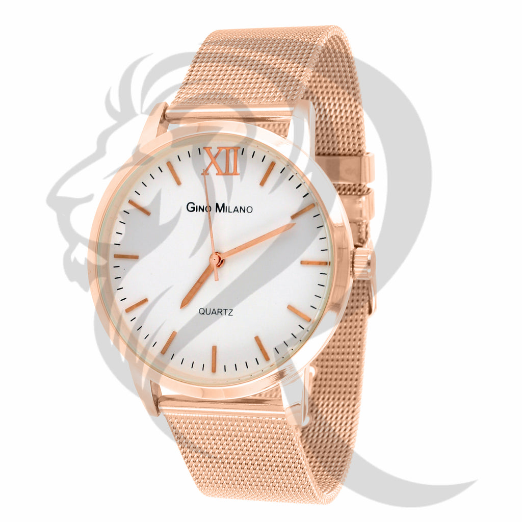 White Dial 40MM Plain Rose Gold Tone Metal Mesh Band Watch