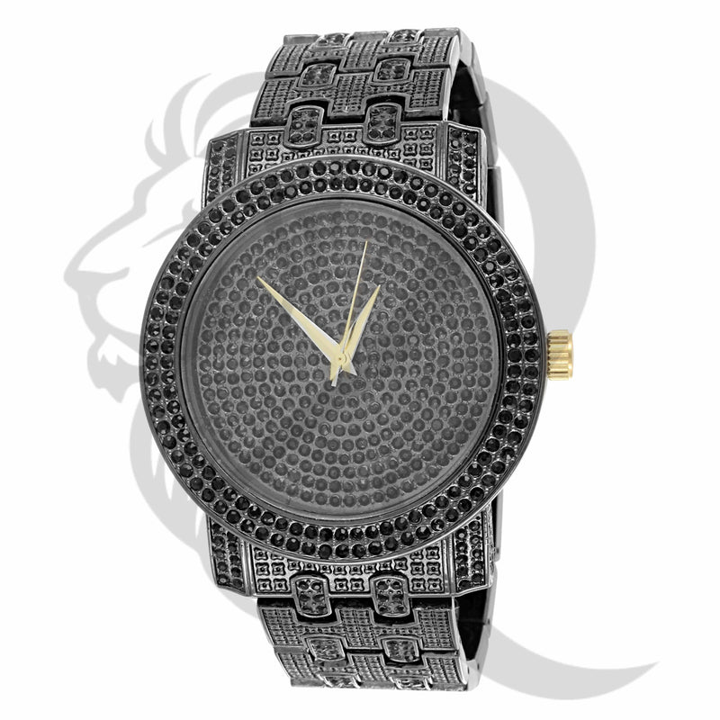 Black Gold Round Face 48MM IcedOut Watch
