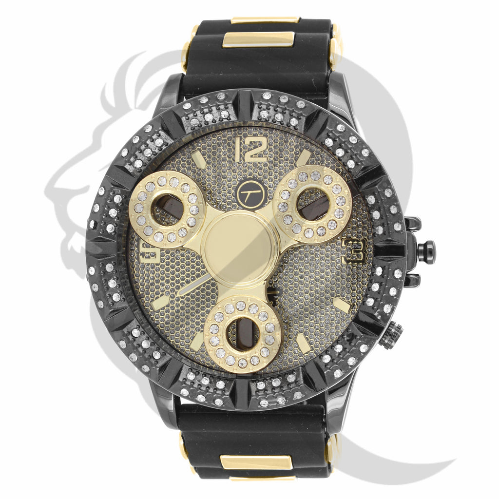 Black & Yellow Gold 50MM Spinner Watch