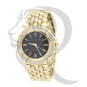 36MM Black Dial Plain Yellow Band Watch