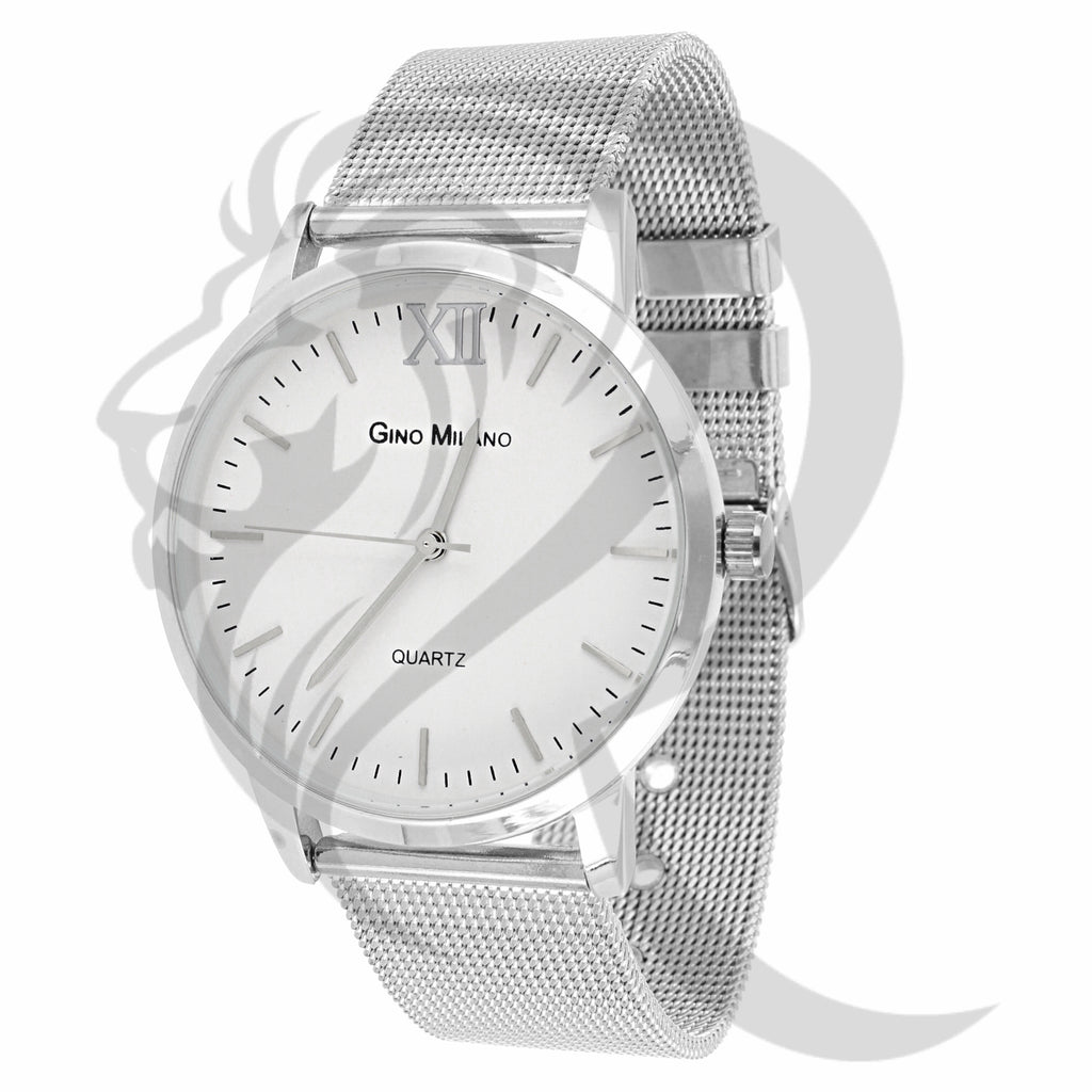 Plain All White 40MM Mesh Band Gino Milano Women's Watch