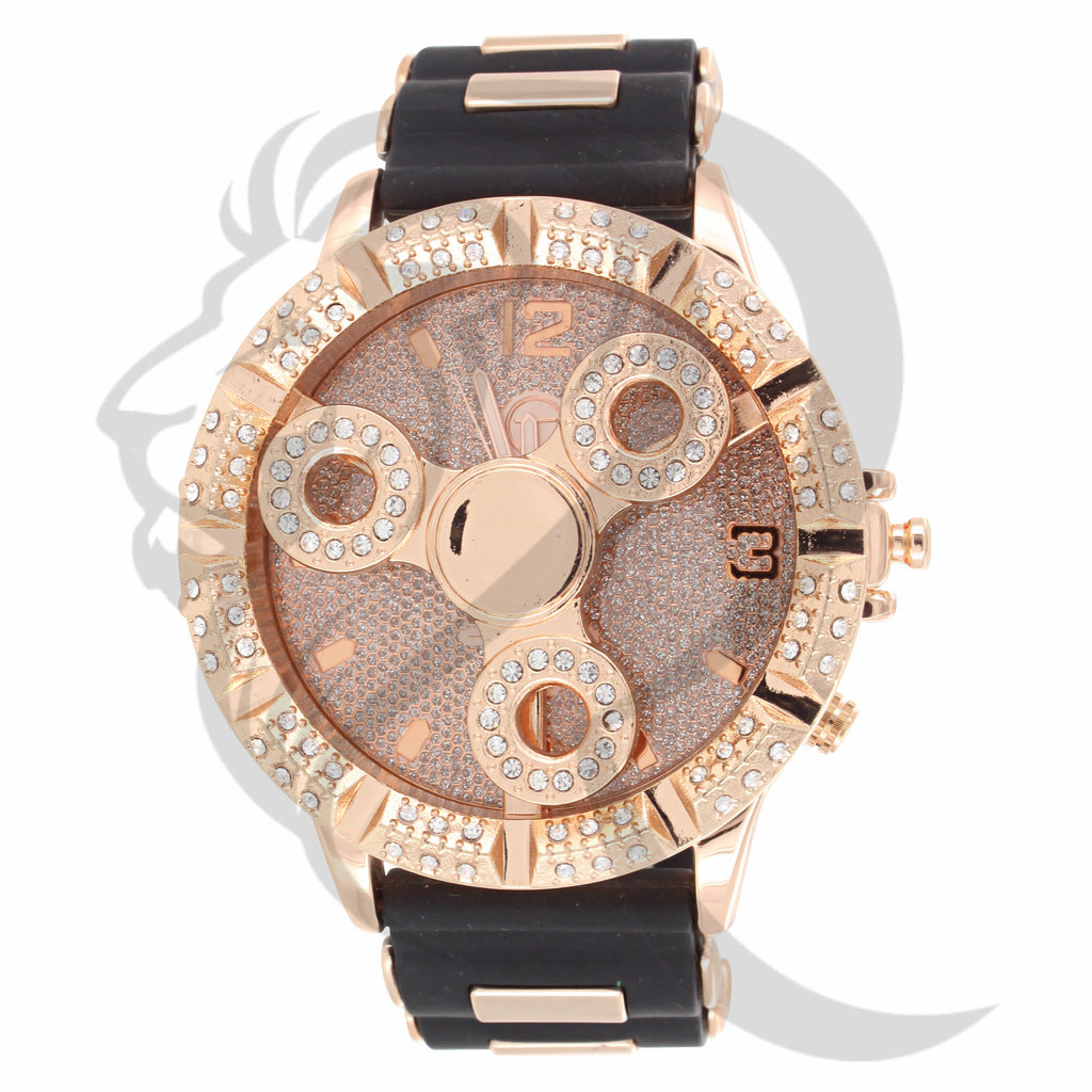 IcedOut Rose Gold Bullet Band Spinner Watch