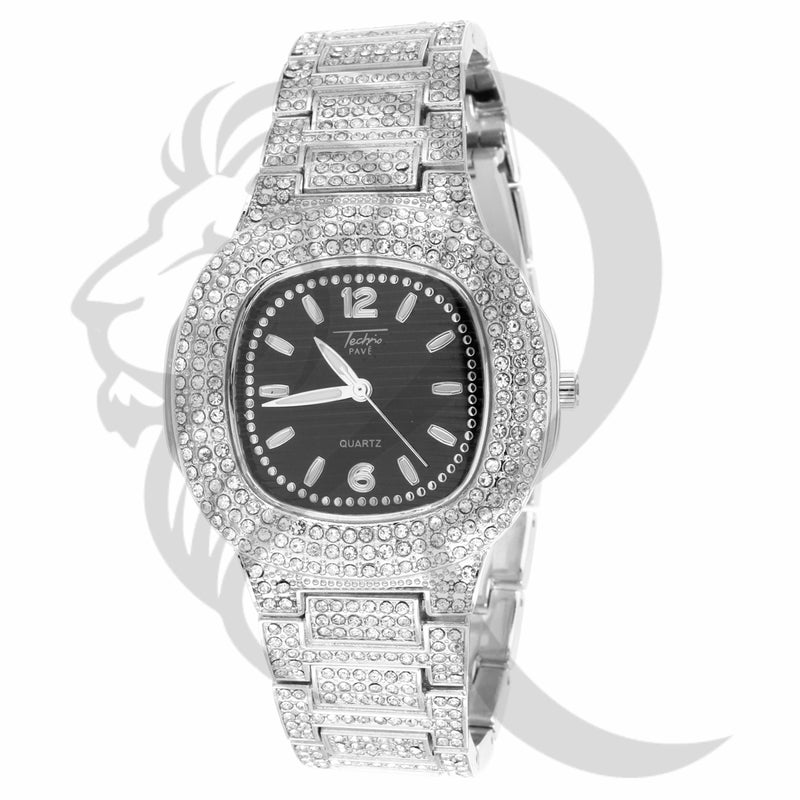 39MM Small Face Black Dial IcedOut Techno Pave Men's Watch