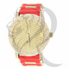 48MM Yellow Gold Red Band IcedOut Watch