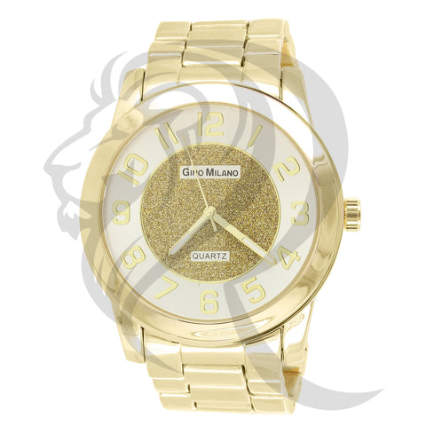 Plain Yellow Tone 45MM Illusion Dial Watch