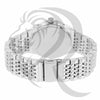 42MM IcedOut Bezel Plain White Gold Tone Metal Men's Watch