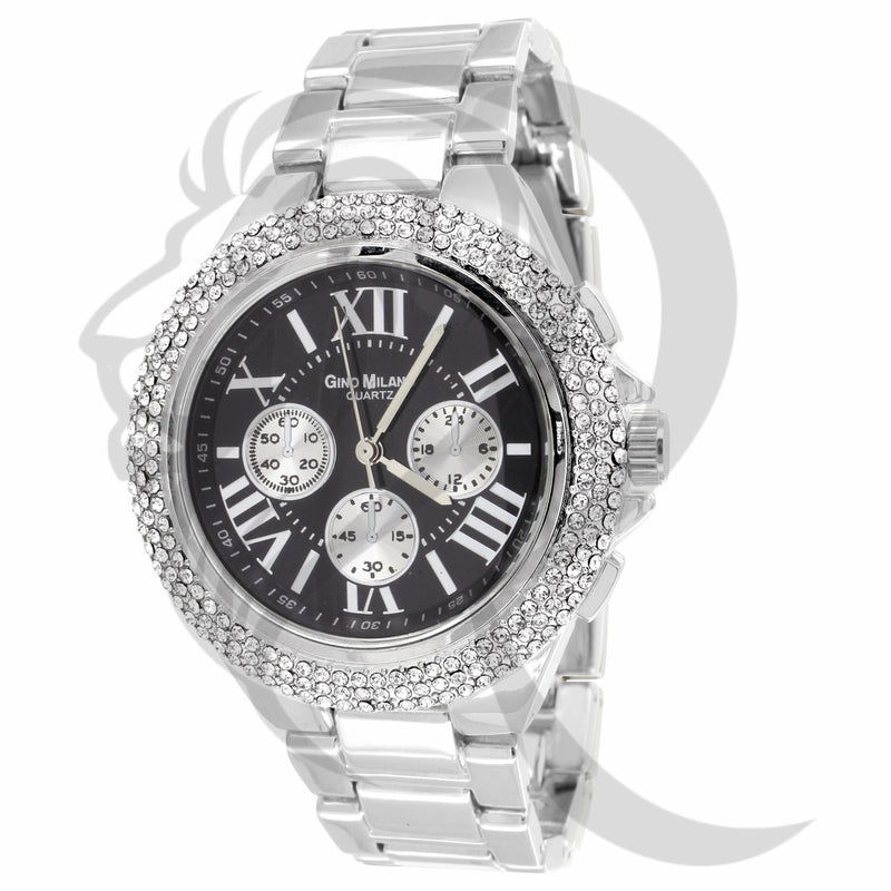 Black & White Iced Out Bezel Watch