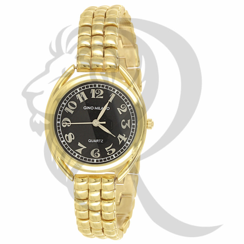 33MM Black Dial Round Face Plain Yellow Metal Ladies Watch