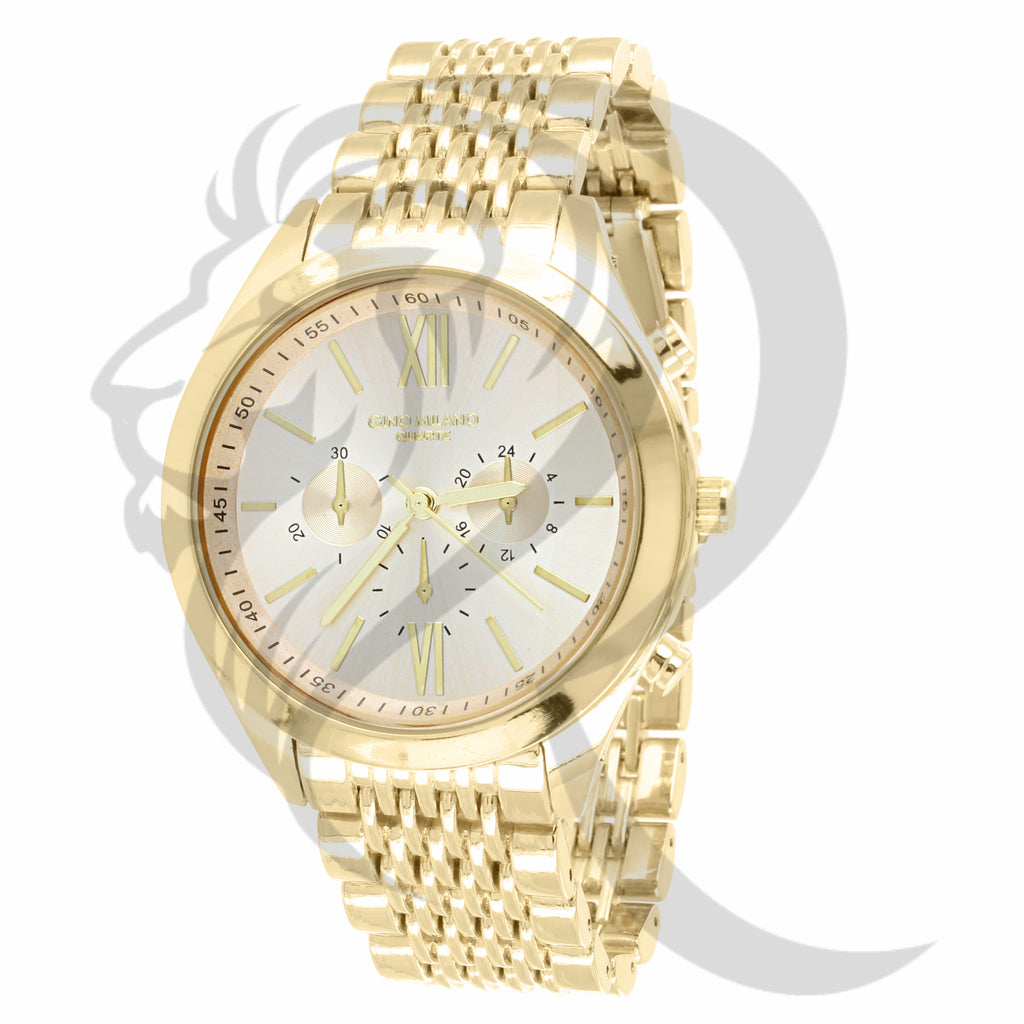42MM Plain Yellow Gold Ladies Watch