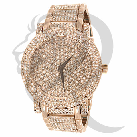 Round 48MM Round IcedOut Face Metal Watch
