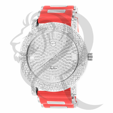 IcedOut Face Red Bullet Band 48MM Watch