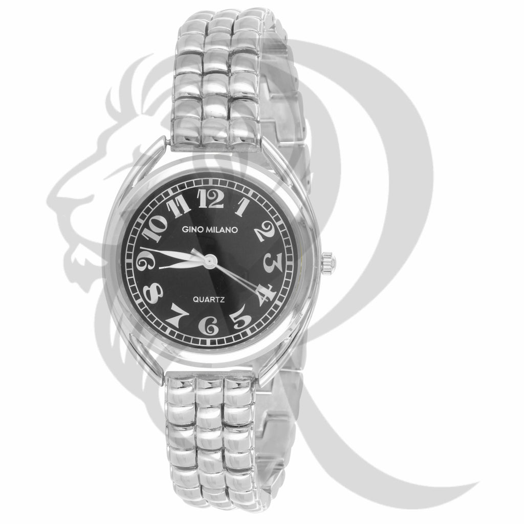 33MM Round Face Plain White Gold Finish Gino Milano Watch