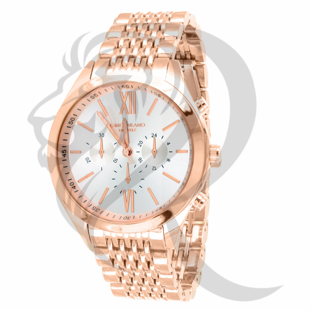 Plain Rose Gold 42MM White Dial Watch