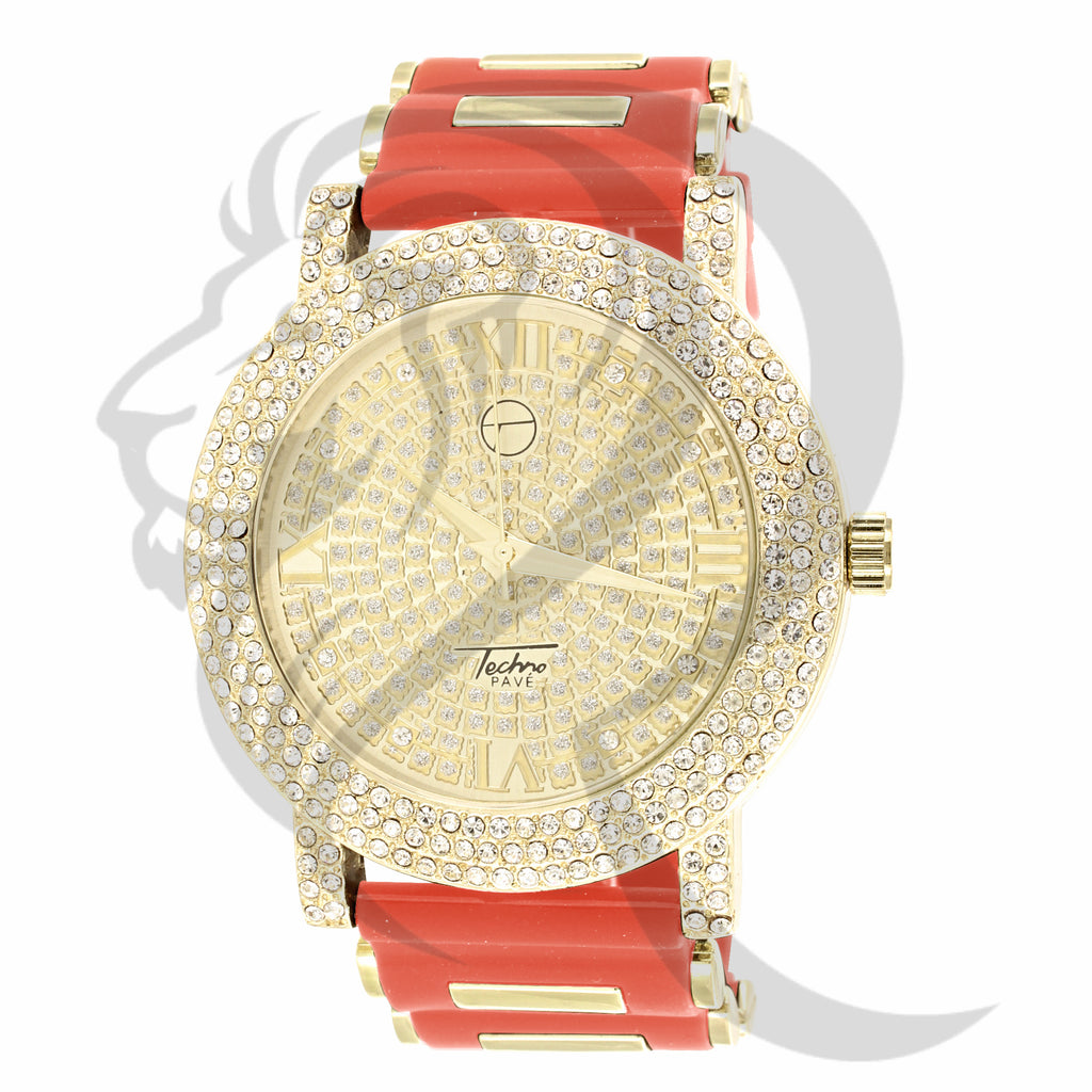 White Stones Dial 48MM Red Band Men's Watch