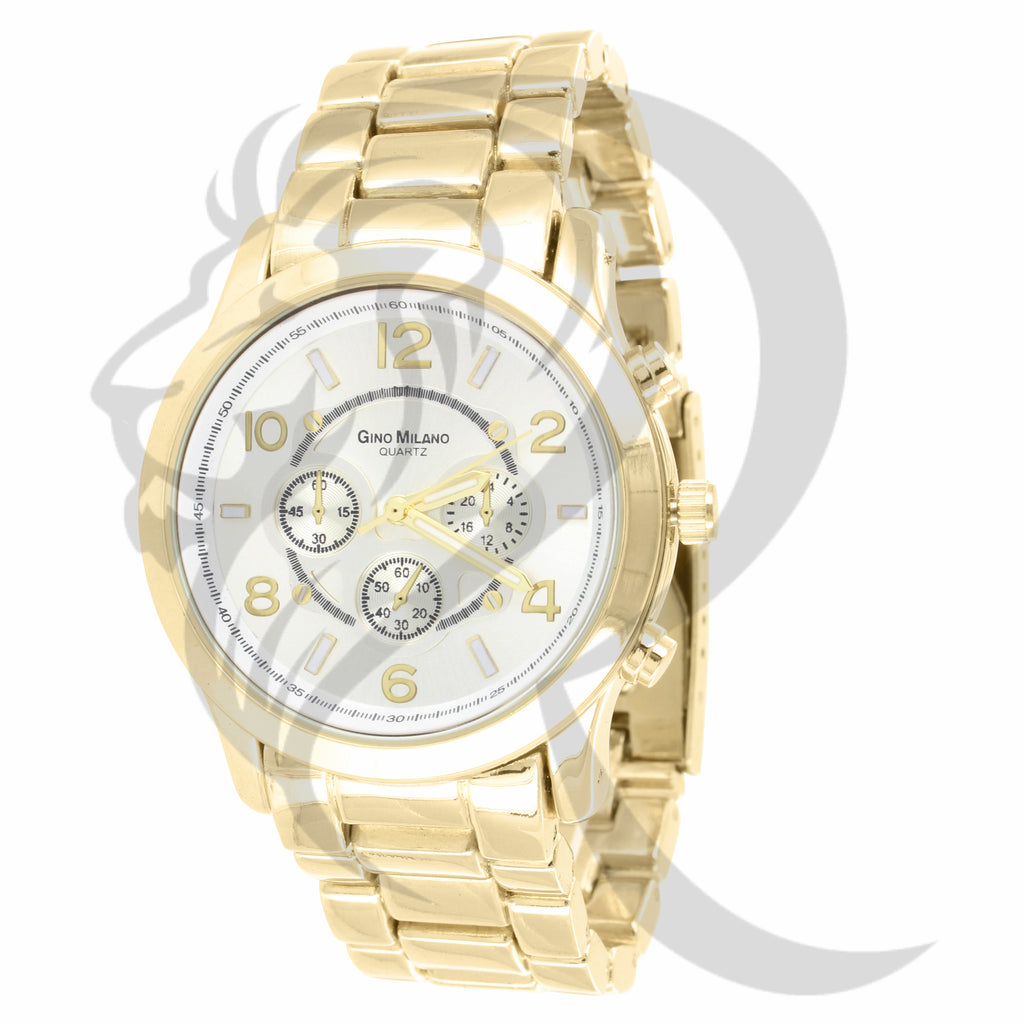 38MM Plain Yellow Metal Gino Milano Watch