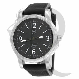 Plain White & Black Leather Band 45MM Watch