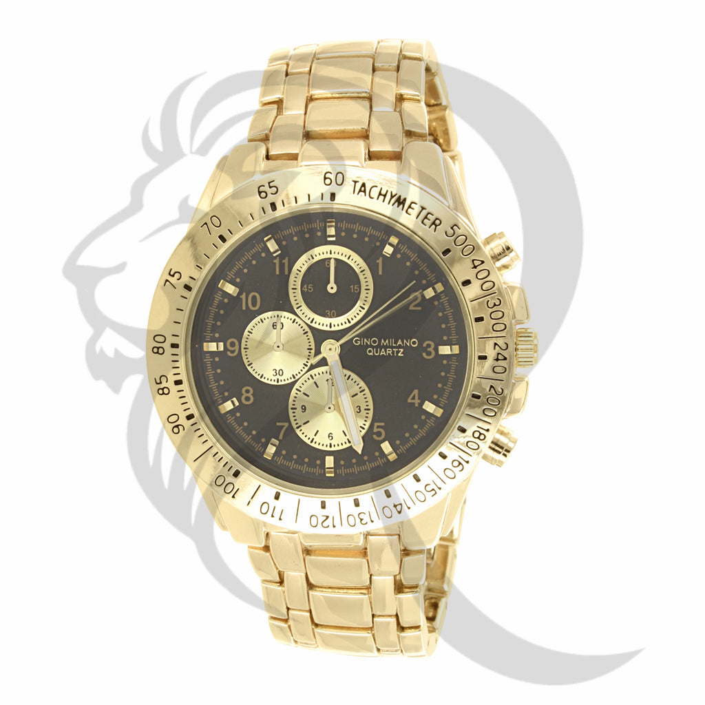 Black & Gold Tone 46MM Round Face Tachymeter Rim Men's Watch