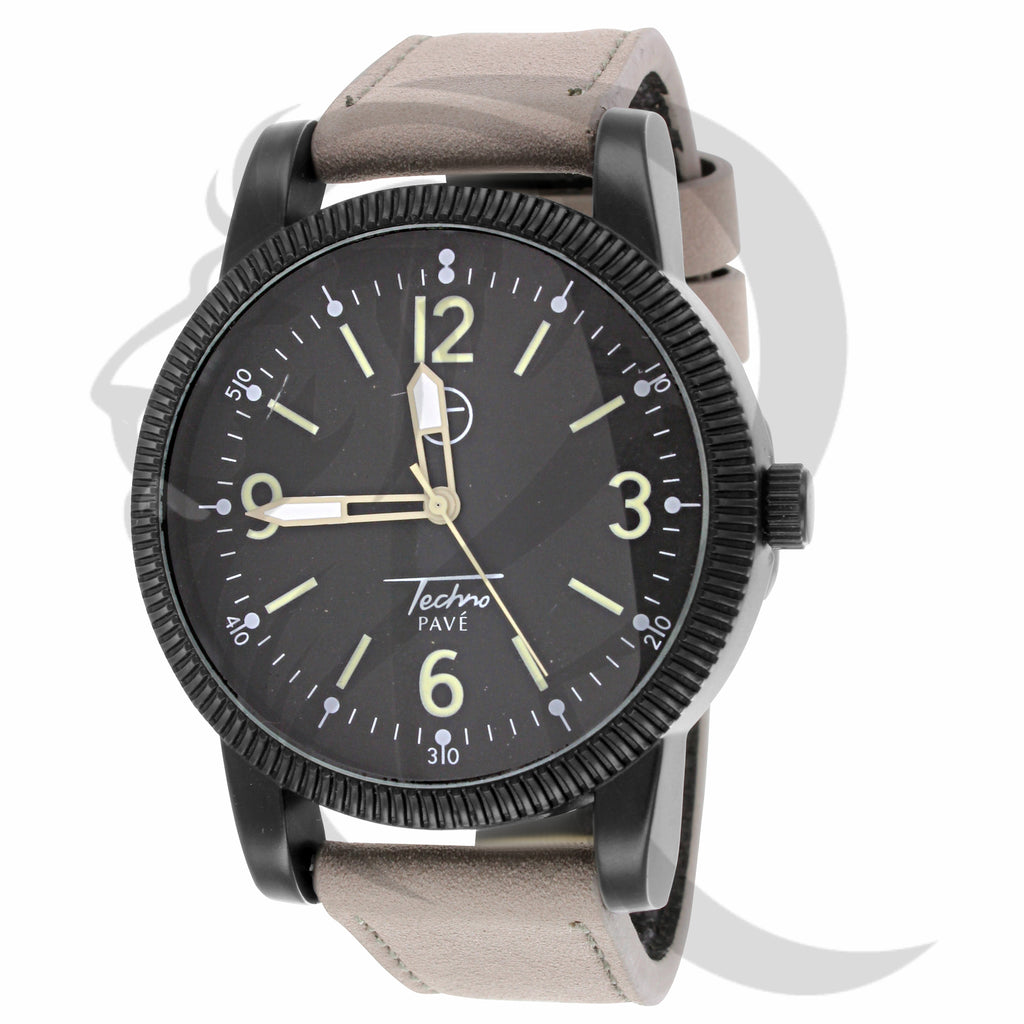 45MM Men's Leather Band Techno Pave Watch