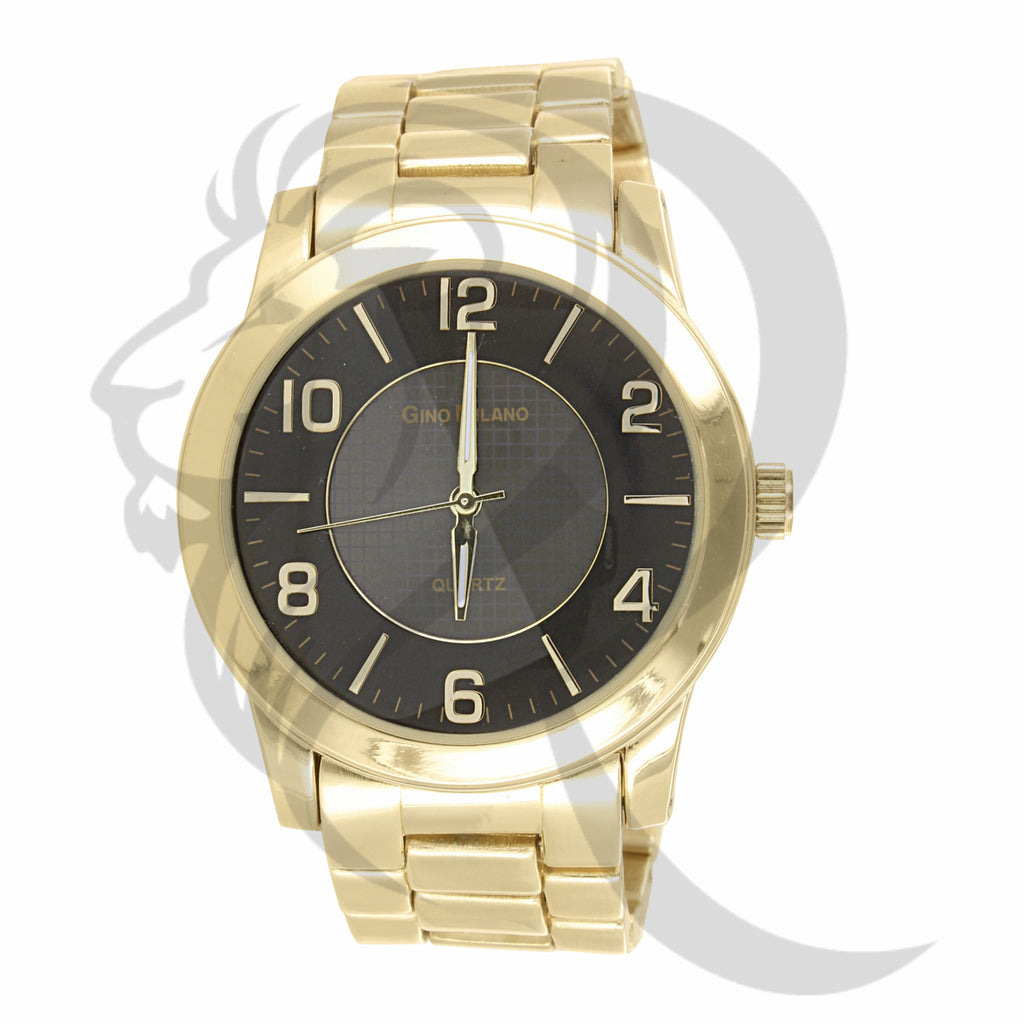 45MM Round Face Black Dial Plain Yellow Tone Men's Metal Watch