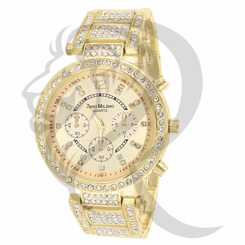 Yellow Gold 39MM IcedOut Gino Milano Watch