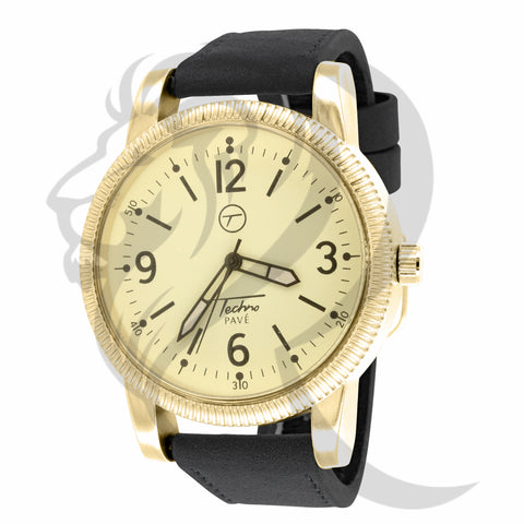 Yellow Dial 45MM Black Leather Band Watch