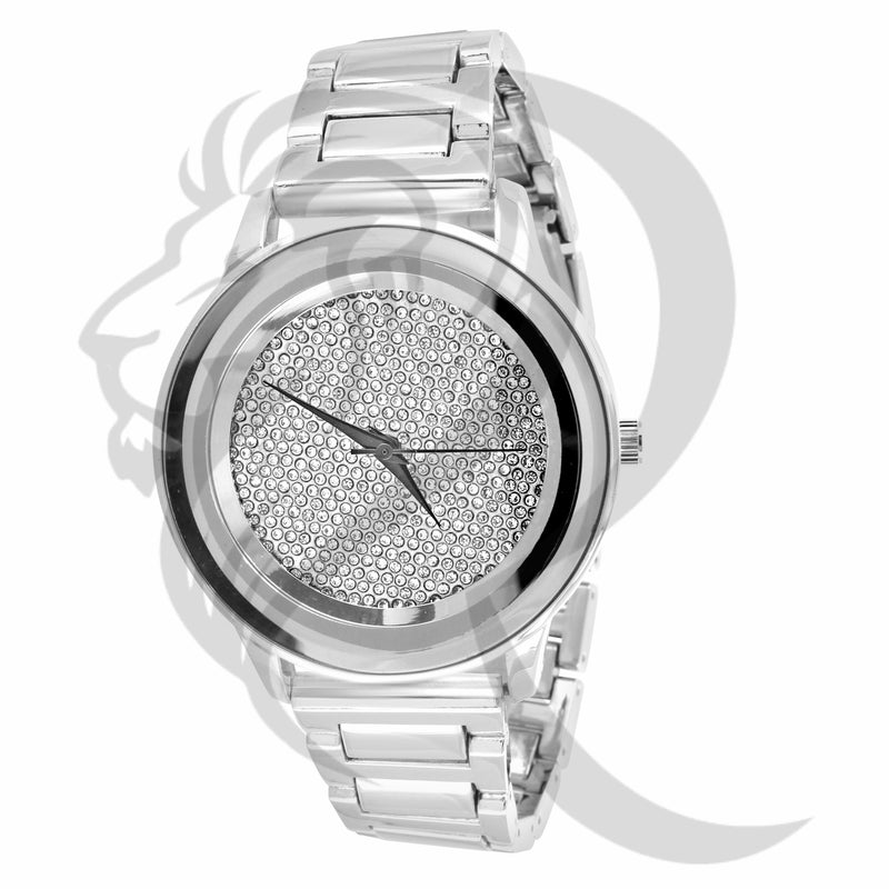 41MM White Tone Iced Out Watch