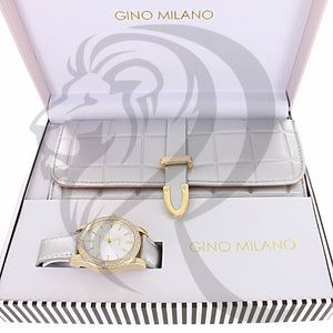 Silver 39MM Yellow Gold Ladies Leather Watch Purse Gift Set