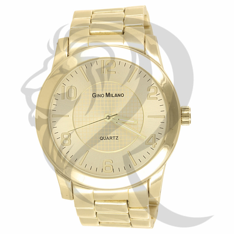 45MM Round Face Yellow Gold Tone Men's Gino Milano Watch