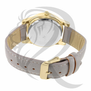 39MM Grey Leather Band IcedOut Face Watch & Purse Gift Set