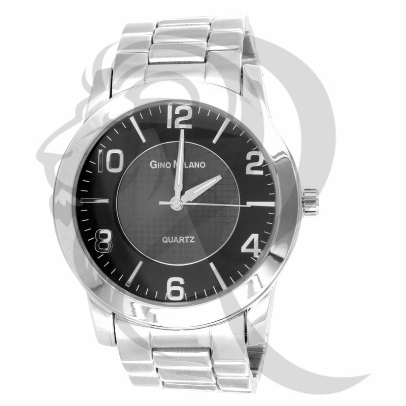 45MM Black Dial Plain White Gold Tone Men's Gino Milano Watch