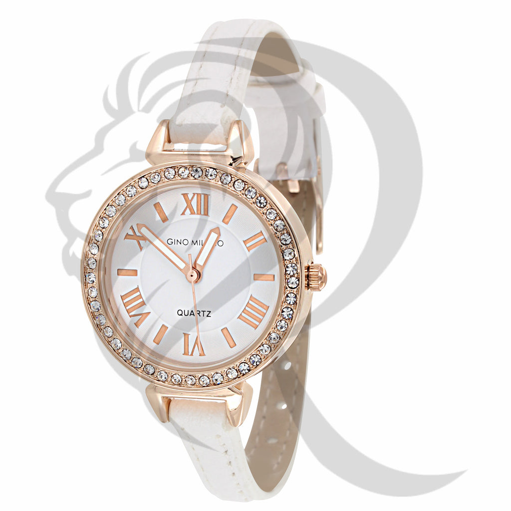 Rose Gold 30MM White Leather Band Ladies Watch