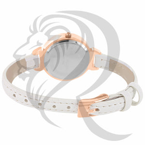 Rose Gold 30MM White Leather Band Watch
