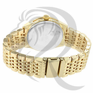 Yellow Tone Iced Out Dial Watch
